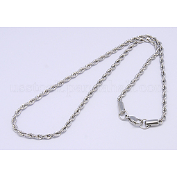 304 Stainless Steel Necklaces Unisex Rope Chain Necklaces US-NJEW-507L-10