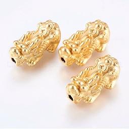 Matted Brass Beads US-KK-F735-10G