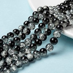 Spray Painted Crackle Glass Beads Strands US-CCG-Q002-8mm-11