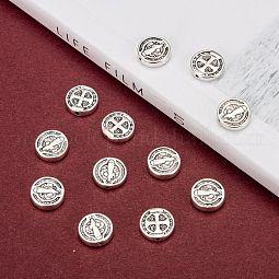 Antique Silver Tone Saint Benedict Medal Tibetan Style Alloy Beads US-X-TIBEB-A20405-AS-LF