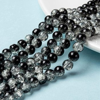 Spray Painted Crackle Glass Beads Strands, Round, Two Tone, Black, 8mm, Hole: 1.3~1.6mm; about 100pcs/strand, 31.4 inches
