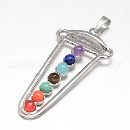 Chakra Jewelry Brass Gemstone Big PendantsUS-KK-J298-06-NR-1