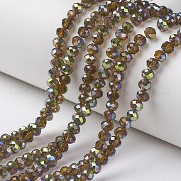 Electroplate Transparent Glass Beads Strands US-EGLA-A034-T10mm-S05