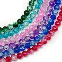Baking Painted Crackle Glass Bead Strands US-CCG-S001-6mm-M