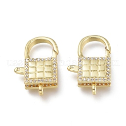 Brass Micro Pave Clear Cubic Zirconia Lobster Claw Clasps US-ZIRC-Q024-21G
