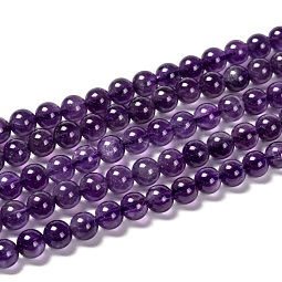 Natural Amethyst Round Bead Strands US-G-M304-18-6mm