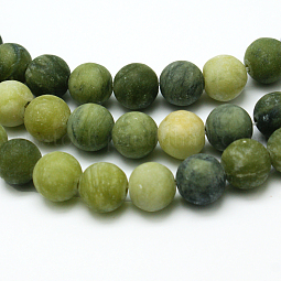 Round Frosted Natural TaiWan Jade Bead Strands US-G-M248-6mm-02