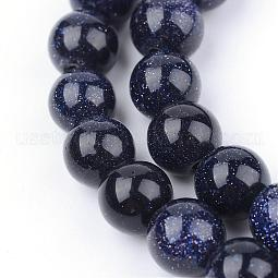 Synthetic Blue Goldstone Beads Strands US-G-Q462-8mm-28