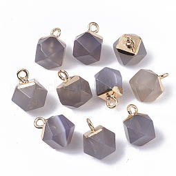 Natural Grey Agate Charms US-G-S359-015D