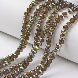 Electroplate Transparent Glass Beads Strands US-EGLA-A034-T8mm-S05