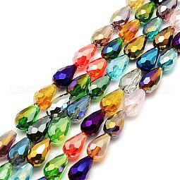 Faceted Teardrop Glass Beads Strands US-GS053-AB