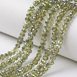 Electroplate Transparent Glass Beads Strands US-EGLA-A034-T6mm-S17