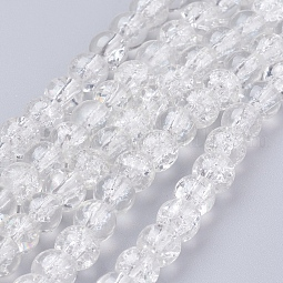 Spray Painted Crackle Glass Beads Strands US-CCG-Q001-6mm-01