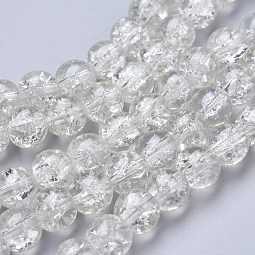 Spray Painted Crackle Glass Beads Strands US-CCG-Q001-8mm-01