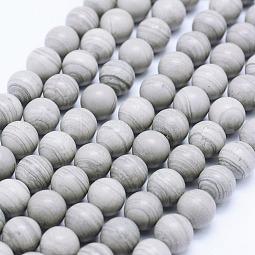 Natural Silver Line Jasper Beads Strands US-G-F531-8mm-O