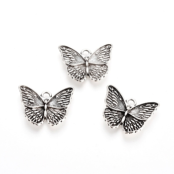 Rack Plating Tibetan Style Alloy Pendants, Butterfly, Antique Silver, 19.5x23.5x3.5mm, Hole: 2.5mm
