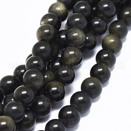 Natural Golden Sheen Obsidian Beads StrandsUS-G-L476-08-1