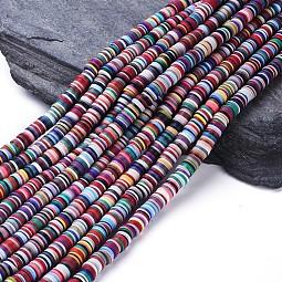 Flat Round Eco-Friendly Handmade Polymer Clay Beads US-CLAY-R067-8.0mm-M2