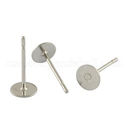 304 Stainless Steel Flat Round Blank Peg Stud Earring Findings US-STAS-S028-37