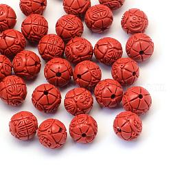 Round/Flower Bud Cinnabar Beads US-CARL-Q003-41B