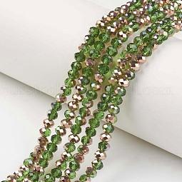 Electroplate Transparent Glass Beads Strands US-EGLA-A034-T6mm-N02