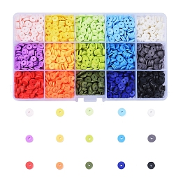 15 Colors Eco-Friendly Handmade Polymer Clay Beads US-CLAY-X0011-02B