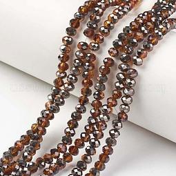 Electroplate Transparent Glass Beads Strands US-EGLA-A034-T10mm-P04