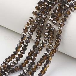 Electroplate Transparent Glass Beads Strands US-EGLA-A034-T10mm-P15