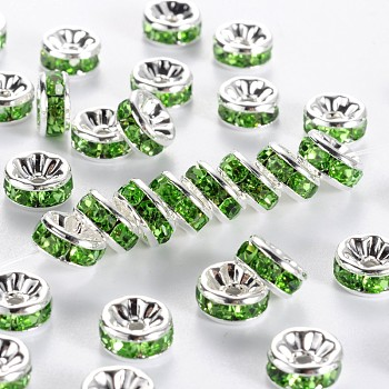 Brass Rhinestone Spacer Beads, Grade AAA, Straight Flange, Nickel Free, Silver Color Plated, Rondelle, Peridot, 8x3.8mm, Hole: 1.5mm