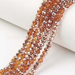 Electroplate Transparent Glass Beads Strands US-EGLA-A034-T8mm-N13