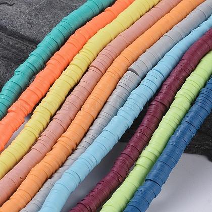 Flat Round Eco-Friendly Handmade Polymer Clay BeadsUS-CLAY-R067-6.0mm-M3-1