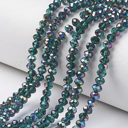 Electroplate Transparent Glass Beads Strands US-EGLA-A034-T10mm-Q15