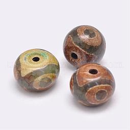 Tibetan Style 3-Eye dZi Beads US-TDZI-G009-B38