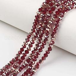 Electroplate Transparent Glass Beads Strands US-EGLA-A034-T10mm-N05