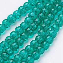 Spray Painted Crackle Glass Beads Strands US-CCG-Q001-6mm-15