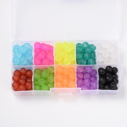 Frosted Round Transparent Glass Beads US-GLAA-X0007-B