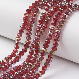 Electroplate Transparent Glass Beads Strands US-EGLA-A034-T8mm-S03