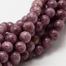 Natural Lepidolite/Purple Mica Stone Round Bead Strands US-G-O143-03-6mm