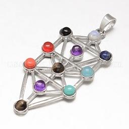 Chakra Jewelry Brass Gemstone Big Pendants US-KK-J298-08-NR