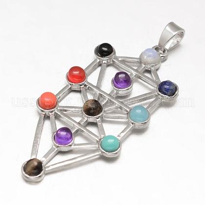 Chakra Jewelry Brass Gemstone Big PendantsUS-KK-J298-08-NR-1